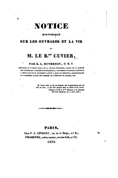 File:Notice historique sur les ouvrages et la vie de Cuvier.djvu