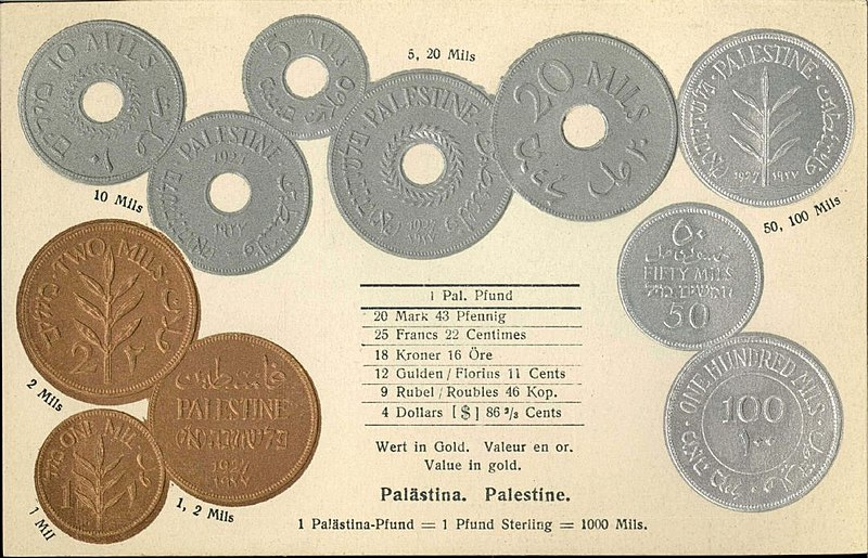 File:Numismatic post-card with contemporary coins - The Palestine.jpg