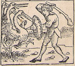 Pygmy (Greek mythology) - A Pygmy fighting his nemeses the cranes. From the Nuremberg Chronicle (1493).
