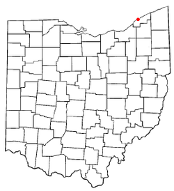 Location of Mentor-on-the-Lake, Ohio