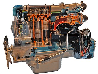 Mercedes-Benz OM 352, one of the first direct injected Mercedes-Benz diesel engines. It was introduced in 1963, but mass production only started in summer 1964. OM 352.jpg