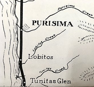 Lobitos, California - Early planning of rail stops included a station or flag stop at Lobitos near the Tunitas community
