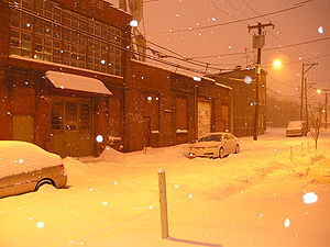 North Philadelphia - Ogden Street in North Philadelphia on a snowy night.