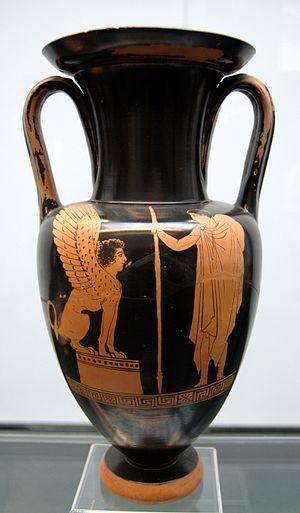 Oedipus (Euripides) - Oedipus confronting the Sphinx