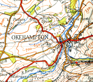 Okehampton - Map of Okehampton from 1946