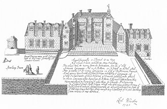 Appuldurcombe House - The Tudor Appuldurcombe House in 1690, drawn by Sir Robert Worsley, dated 1720