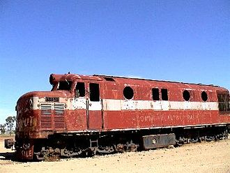 Marree, South Australia - Former Commonwealth Railways NSU class locomotive at Marree railway station