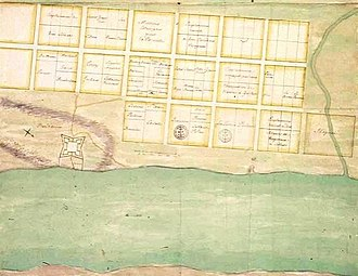 Old Mobile Site - Proposed city plan drafted by Charles Levasseur in 1702