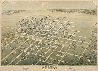 Cuero, Texas - Map of the city in 1881