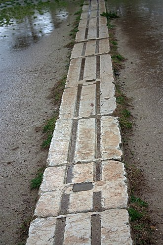 Stadium at Olympia - White blocks where athletes would place their feet and get ready for their race
