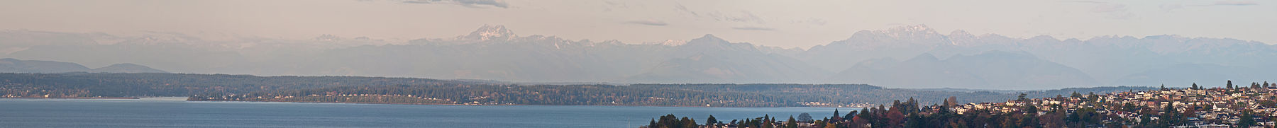 Panorama of the Olympic Mountain Range as seen from Queen Anne Hill.