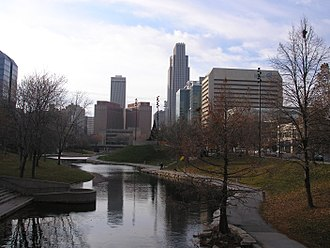 Downtown Omaha - View of Downtown Omaha looking west from the Gene Leahy Mall