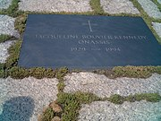 Grave of Jacqueline Bouvier Kennedy Onassis at the Arlington National Cemetery.