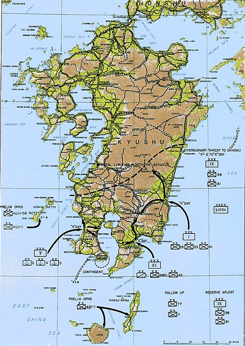 Operation Olympic was to attack southern Japan. Operation Olympic.jpg