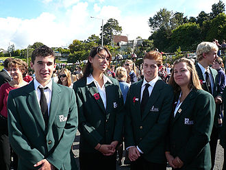 Education in New Zealand - New Zealand college students at an Anzac Day parade, Auckland