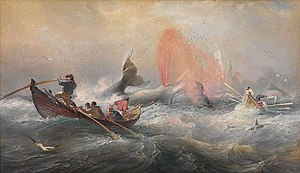 Whaling in Australia - Oswald Brierly, Whalers off Twofold Bay, New South Wales, 1867