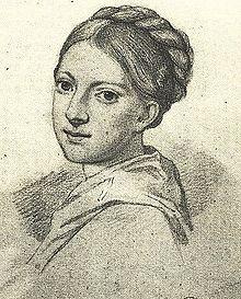 Ottilie von Goethe, Kreidezeichnung von H. Müller nach einer Bleistiftzeichnung von H. Junker. (Quelle: Wikimedia)