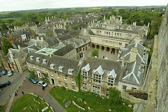 Oundle School - The Cloisters viewed from the spire of St Peter's Church