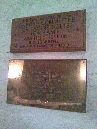 Oxfam - Plaque commemorating first meeting of Oxfam in the Old Library, the University Church, Oxford.