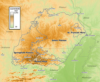 Ozark Plateaus - Elevation map of the Ozarks.