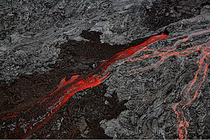 Lava - Pāhoehoe and ʻaʻā lava flows side by side at the Big Island of Hawaii in September, 2007