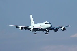 Kawasaki P-1 - A P-1 on approach to land, 2014