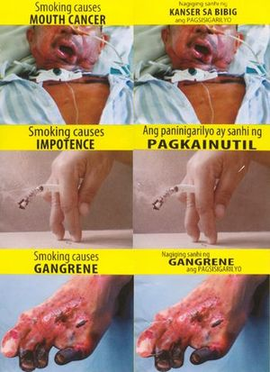 Smoking in the Philippines - Graphic tobacco packaging warning messages at present