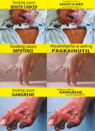Smoking in the Philippines - Graphic tobacco packaging warning messages prior to 2018 revision