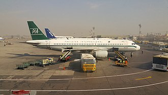 Benazir Bhutto International Airport -  Pakistan International Airlines aircraft in the retro livery.