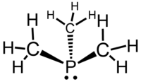 Stereo, skeletal formula of trimethylphosphine with the lone pair of electrons shown, and all explicit hydrogens added