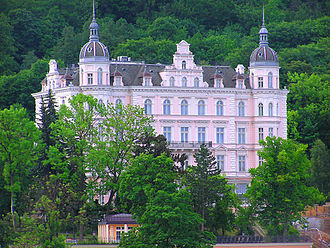 The Grand Budapest Hotel - Palace Bristol Hotel in Karlovy Vary (Carlsbad), Czech Republic was not in the film but was one of the inspirations in designing the outer façade of the fictional Grand Budapest Hotel.