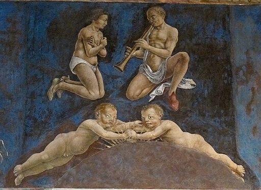 Palazzo schifanoia, salone dei mesi, 05 maggio (f. del cossa e aiuti), gemelli 01