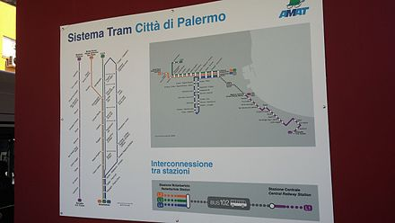 Palermo, AMAT tramway system map Palermo Tramway System Map.jpg