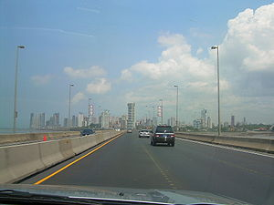 Economy of Panama - Panama City as seen from the Corredor Sur highway.