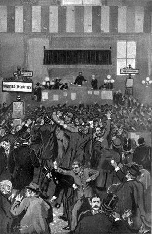 Panic of 1893 - Drawing of frenzied stockbrokers on May 5, 1893, from Frank Leslie's Illustrated Newspaper