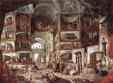 Late Baroque classicizing: G. P. Pannini assembles the canon of Roman ruins and Roman sculpture into one vast imaginary gallery (1756)