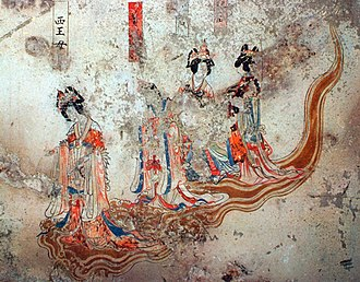 Queen Mother of the West - A Liao dynasty fresco from the tomb in the mountain Pao, the first figure from left is Hsiwangmu.