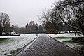 Parc Seny on a snowy day, entering from Rue Charles Lemaire (Auderghem, Belgium) - road.jpg