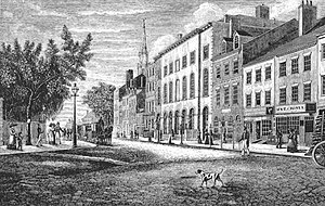 Park Theatre (Manhattan) - The theatre and surrounding neighborhood c. 1830.
