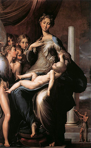 Mannerism - In Parmigianino's Madonna with the Long Neck (1534-40), Mannerism makes itself known by elongated proportions, highly stylized poses, and lack of clear perspective.