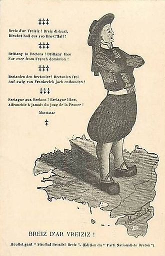"""Breton nationalism - Poster of 1912 of the Breton Nationalist Party claiming a """"free Brittany, forever free from the yoke of France""""."""