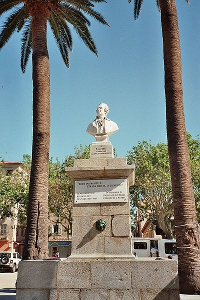 Monument to Pasquale Paoli at Ile Rousse in Corsica: the Corsican hero made Italian the official language of his Corsican Republic in 1755 Pascal Paoli01.jpg