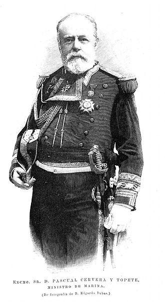 Pascual Cervera y Topete - Cervera in an engraving published in La Ilustración Española y Americana, 1893.