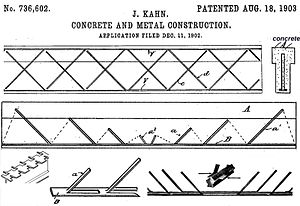 Kahn system - Kahn system of reinforced concrete, patent no. 736,602 dated August 18, 1903