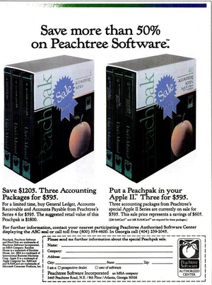 Sage 50 Accounting - Peachtree Software advertisement in the November 29, 1982 issue of InfoWorld