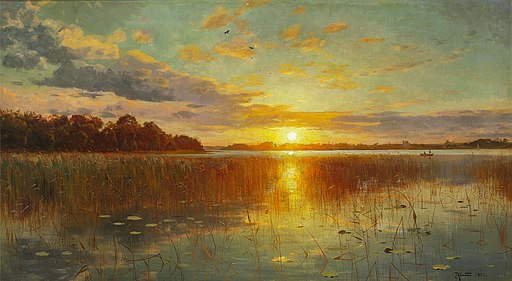 Peder Mønsted - Sunset over a Danish Fiord