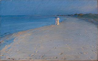 Sommeraften på Skagens Sønderstrand. Anna Ancher og Marie (skitse 38,5 x 60 cm)