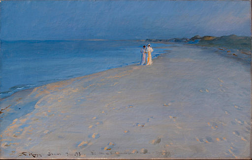 Peder Severin Krøyer - Summer evening at the South Beach, Skagen. Anna Acher and Marie Krøyer - Google Art Project