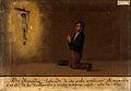 Pedro Fernandez praying to Christ on the Cross. Oil painting Wellcome V0017471.jpg