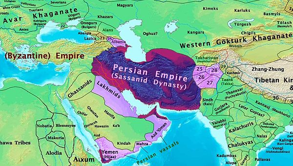 Asia in 600 CE, showing the Sassanid Empire before the Arab conquest.